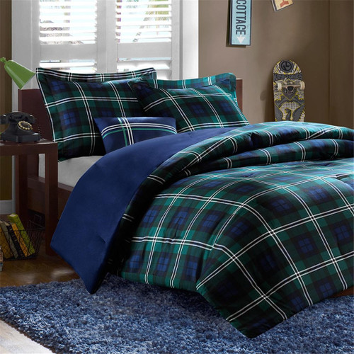 Blue Green & White Plaid Reversible Comforter Set AND Decorative Pillow (Brody-Blue-comf)
