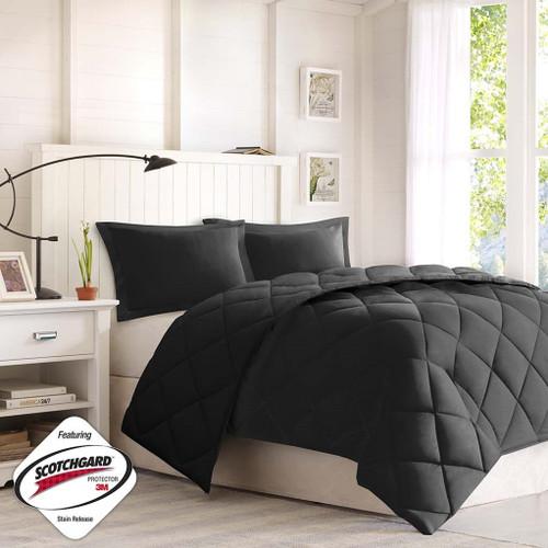Solid Black Microfiber Down Alternative Comforter AND Decorative Shams (Larkspur-Black)