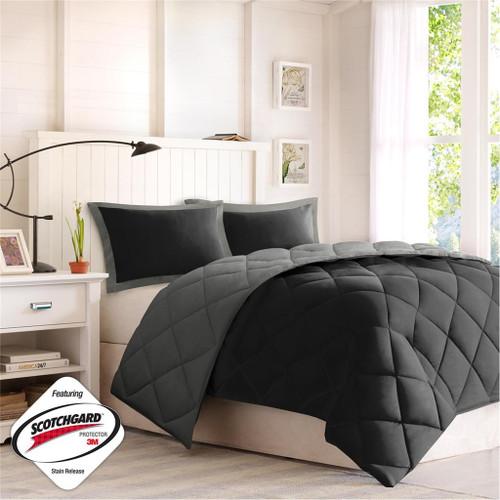 Black & Grey Microfiber Down Alternative Comforter AND Decorative Shams (Larkspur-Black/Grey)