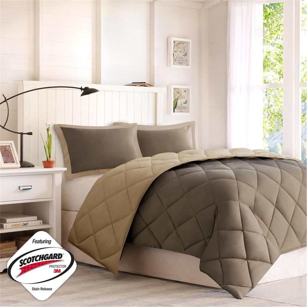 Brown & Taupe Microfiber Down Alternative Comforter AND Decorative Shams (Larkspur-Brown)