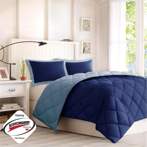 Navy & Soft Blue Microfiber Down Alternative Comforter AND Decorative Shams (Larkspur-Blue)