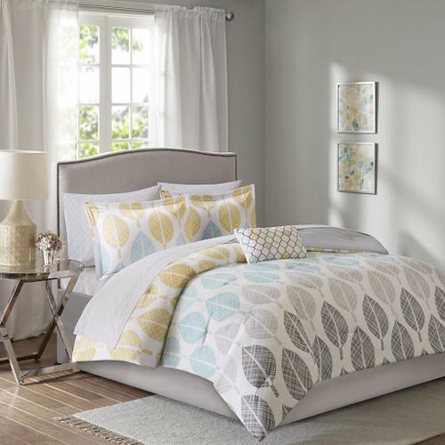 Yellow Aqua & Grey Reversible Comforter Set AND Matching Sheet Set (Central Park-Yellow/Aqua)