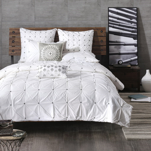 3pc White & Grey 200TC Cotton Comforter AND Decorative Shams (Masie-White)