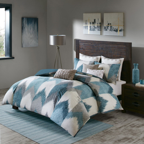 3pc Aqua & Grey Chevron 200TC Cotton Comforter AND Decorative Shams (Alpine-Blue)