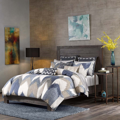 3pc Navy Blue & Taupe Chevron 200TC Cotton Comforter AND Decorative Shams (Alpine-Navy)