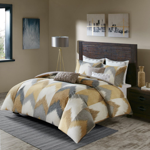 3pc Yellow & Taupe Chevron 200TC Cotton Comforter AND Decorative Shams (Alpine-Yellow)