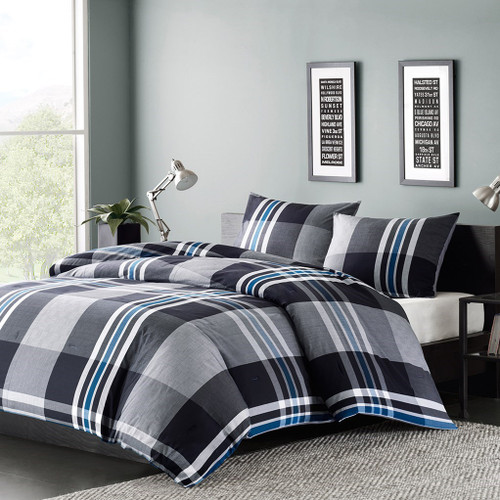 3pc Black White & Blue Plaid Cotton Comforter AND Decorative Shams (Nathan-Grey)