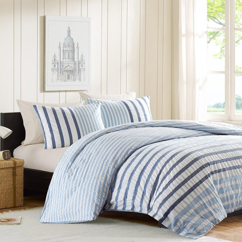 3pc Blue & White Striped Seersuckle Cotton Comforter AND Decorative Shams (Sutton-Blue)