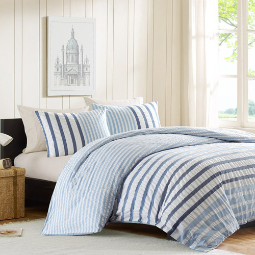 3pc Blue & White Striped Seersuckle Cotton Comforter AND Decorative Shams (Sutton-Blue)