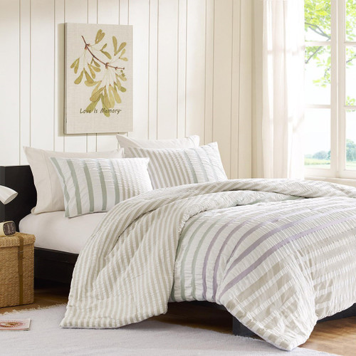 3pc Khaki & Green Striped Seersuckle Cotton Comforter AND Decorative Shams (Sutton-Multi)