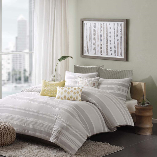 3pc Light Grey Stripes Cotton Comforter AND Decorative Shams (Lakeside-Grey)