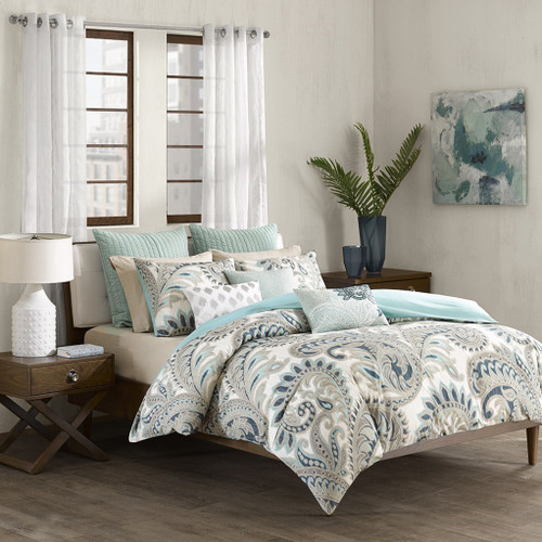 3pc Blue & Taupe Paisley 200TC Cotton Comforter AND Decorative Shams (Mira-Blue)