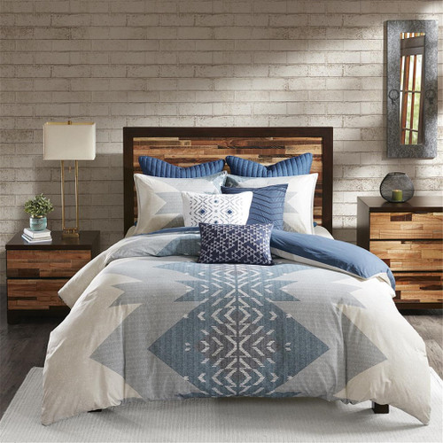 3pc Shades of Blue Chevron & Geometric 200TC Cotton Comforter AND Decorative Shams (Nova-Blue)