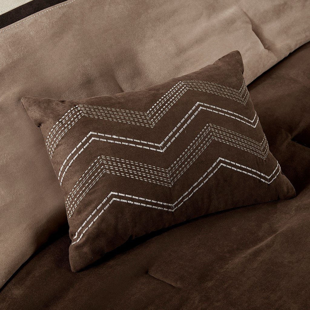 6pc Tan Taupe & Brown Microsuede Duvet Cover Bedding Set AND Decorative Pillows (Palisades-Brown-duv)