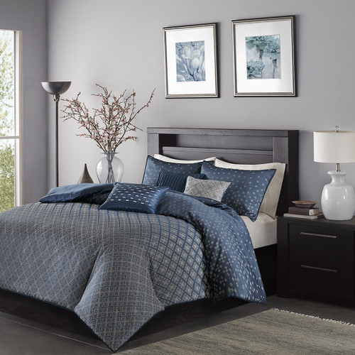6pc Navy Blue & Grey Ombre Duvet Cover Bedding Set AND Decorative Pillows (Biloxi-Navy-duv)