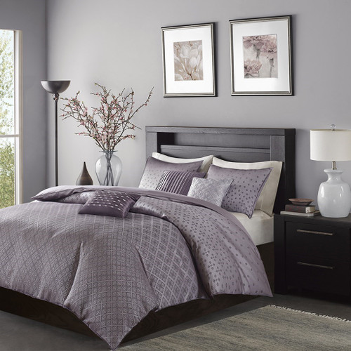 6pc Plum Purple Ombre Duvet Cover Bedding Set AND Decorative Pillows (Biloxi-Purple-duv)