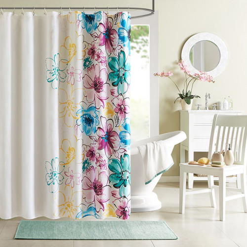 "White Teal Blue & Green Oversized Floral Fabric Shower Curtain - 72"" x 72"" (Olivia-Blue-Shower)"