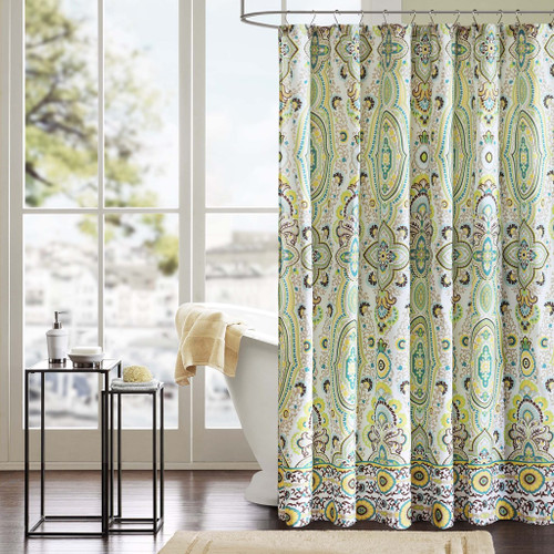 "Green Yellow & White Ogee Design Fabric Shower Curtain - 72"" x 72"" (Tasia-Green-Shower)"
