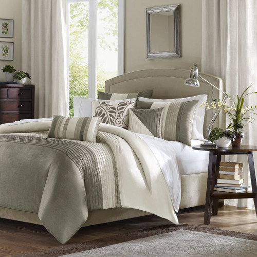 6pc Ivory & Taupe Duvet Cover Bedding Set AND Decorative Pillows (Amherst-Ivory-duv)