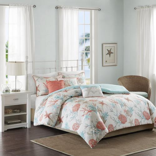 6pc Coral & Teal Beach Starfish Duvet Cover Bedding Set AND Decorative Pillows (Pebble Beach-Coral-duv)