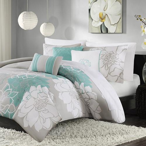 6pc Aqua Grey Reversible Cotton Duvet Cover Bedding Set AND Decorative Pillows (Lola-Aqua-duv)