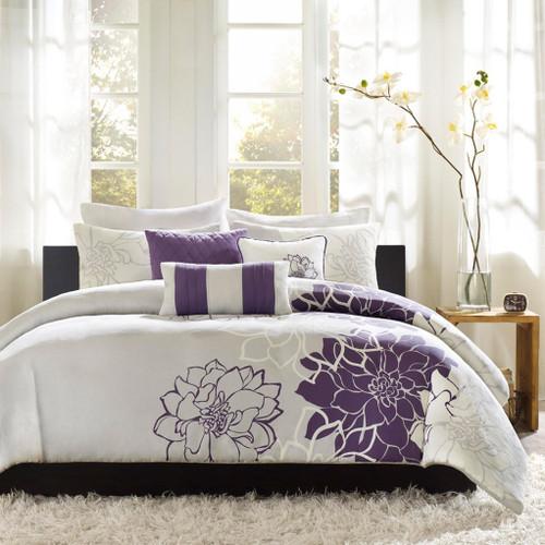 6pc Purple Grey Reversible Cotton Duvet Cover Bedding Set AND Decorative Pillows (Lola-Purple-duv)