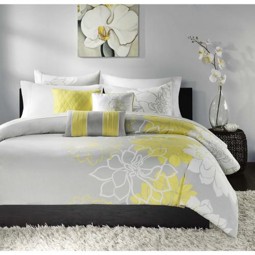 6pc Yellow Grey Reversible Cotton Duvet Cover Bedding Set AND Decorative Pillows (Lola-Yellow-duv)