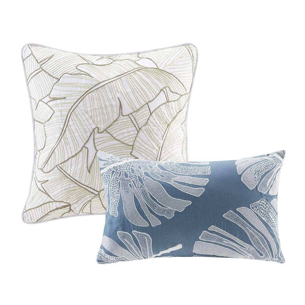6pc Blue Green & White Coastal Print Cotton Comforter AND Decorative Pillows (Lorelai-Multi)