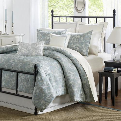 4pc Blue & Khaki Paisley Design Cotton Comforter Set AND Decorative Shams (Chelsea-Blue)
