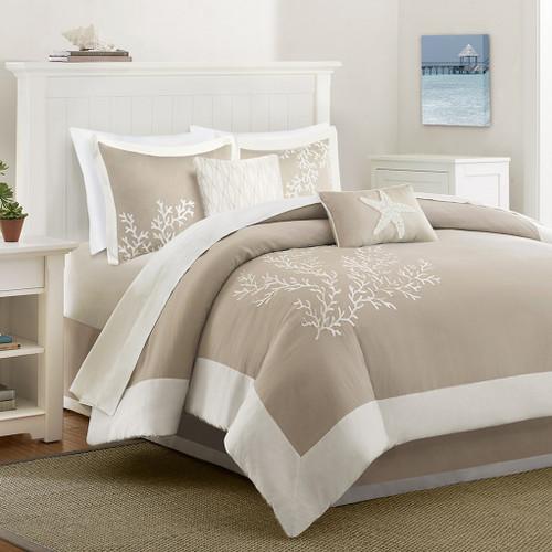 6pc Khaki Seaside Coral Motif Cotton Comforter AND Decorative Pillows (Coastline-Khaki)