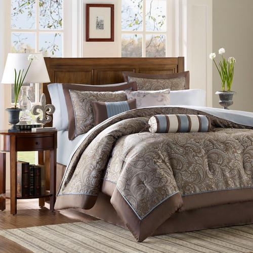 Brown & Blue Jacquard Weave Duvet Cover Bedding Set AND Decorative Pillows (Aubrey-Blue-duv)