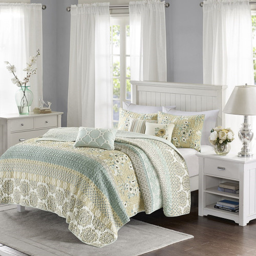 6pc Green & Taupe Geo Floral Reversible Quilted Coverlet AND Decorative Pillows (Willa-Green-Cov)