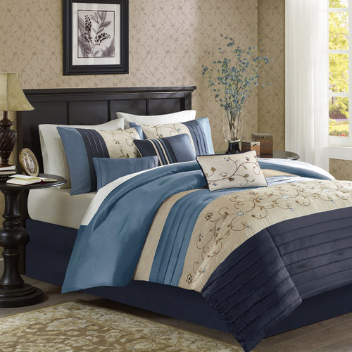 7pc Navy Blue & Taupe Embroidered Floral Comforter Set AND Decorative Pillows (Serene-Navy)