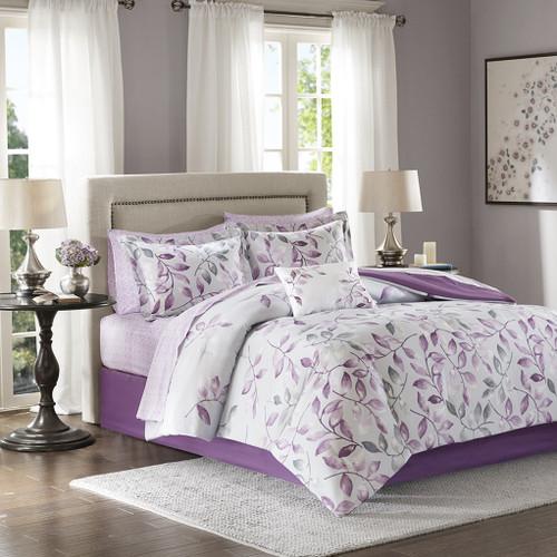 Purple & Grey Floral Reversible Comforter Set AND Matching Sheet Set (Lafael-Purple)