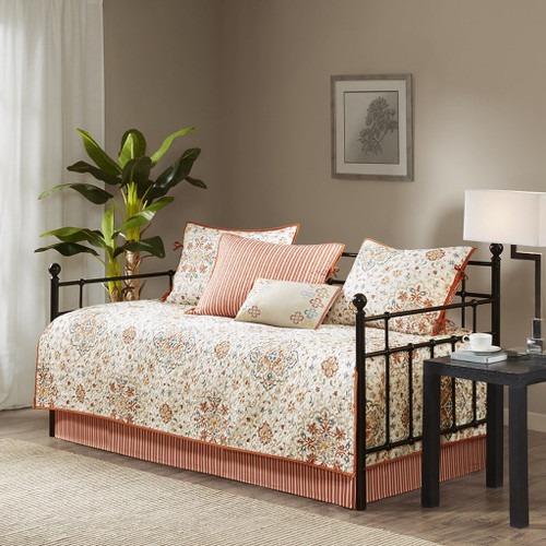 6pc Ivory & Rustic Orange Medallion Quilted Daybed Set AND Decorative Pillow (Tissa-Ivory-DB)