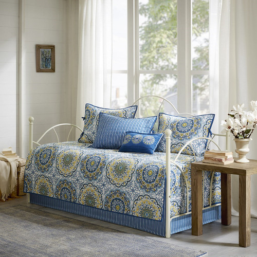 6pc Blue & Yellow Medallion Quilted Daybed Set AND Decorative Pillow (Tangiers-Blue-DB)