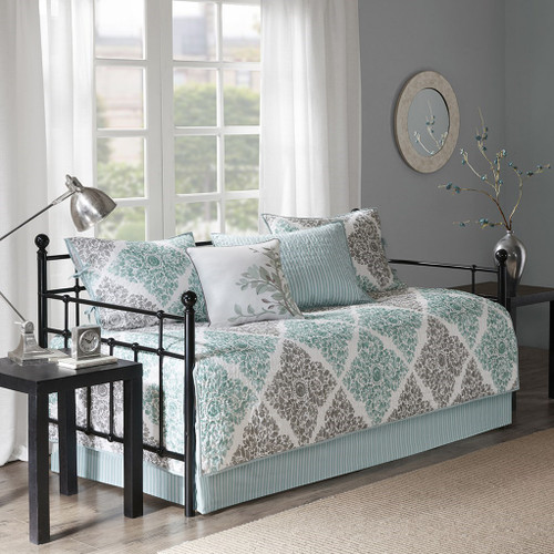 6pc Aqua & Grey Leaf Diamond Quilted Daybed Set AND Decorative Pillow (Claire-Aqua-DB)