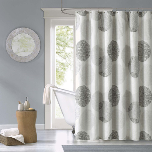 "Grey & White Circular Design Fabric Shower Curtain - 72"" x 72"" (Knowles-Grey-Shower)"