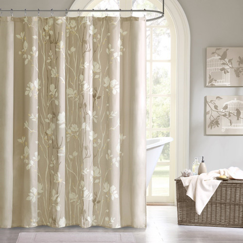 "Taupe White & Yellow Floral Fabric Shower Curtain - 72"" x 72"" (Vaughn-Taupe-Shower)"