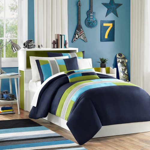 Blue & Green Colorblock Duvet Cover Bedding Set AND Decorative Pillow (Pipeline-Navy-duv)