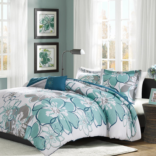 Blue & Seafoam Green Floral Duvet Cover Bedding Set AND Decorative Pillow (Allison-Blue/Grey-duv)