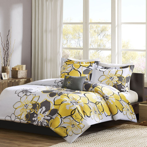 Yellow Grey & White Floral Duvet Cover Bedding Set AND Decorative Pillow (Allison-Yellow-duv)