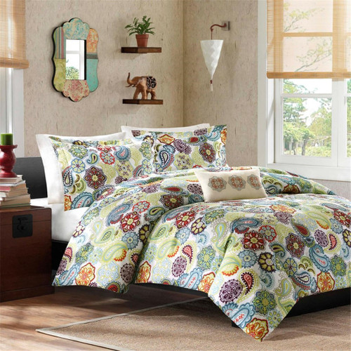 Paisley Medallions & Floral Duvet Cover Bedding Set AND Decorative Pillow (Tamil-Multi-duv)