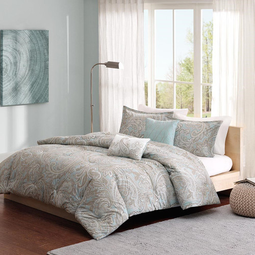 5pc Blue & Brown Paisley Print Cotton Comforter AND Decorative Pillows (Ronan-Blue)