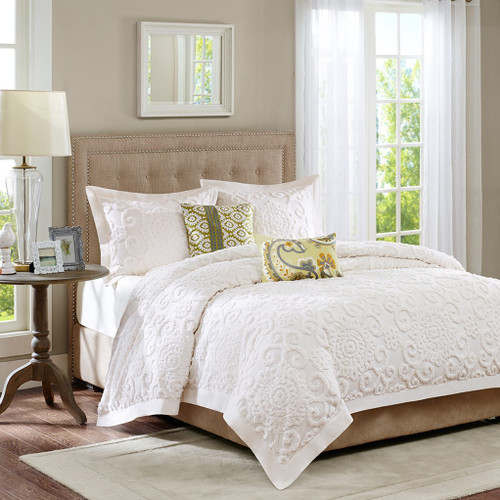 3pc Ivory Medallions & Scroll Pattern Textured Comforter AND Decorative Shams (Suzanna-Ivory)