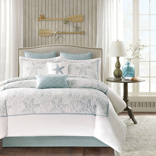 4pc Coastal Blue & White Beach Cotton Comforter Set AND Decorative Shams (Maya Bay-Blue)