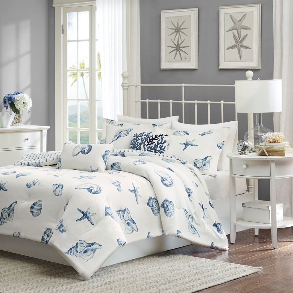 Blue & White Beach Shells Reversible Comforter Set AND Decorative Shams (Beach House-Blue)