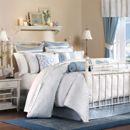 Blue & White Shells Motif Quilted Cotton Comforter Set AND Decorative Shams (Crystal Beach-White)