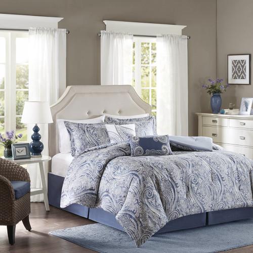 6pc Soft Blue Paisley Print Cotton Comforter Set AND Decorative Shams (Stella-Multi)