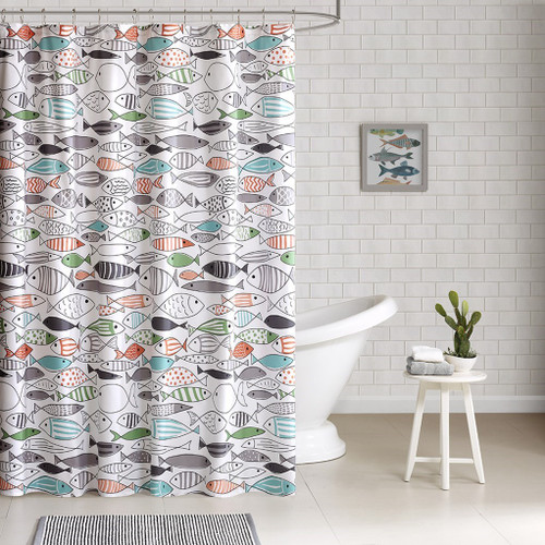 "Colorful Hip Fish Print Cotton Fabric Shower Curtain - 72"" x 72"" (Sardinia-Multi-Shower)"